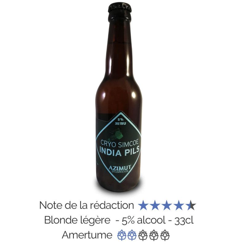 Bière artisanale blonde légère Cryo Simcoe  India Pils microbrasserie Azimut à Bordeaux coffret biere box biere made in france