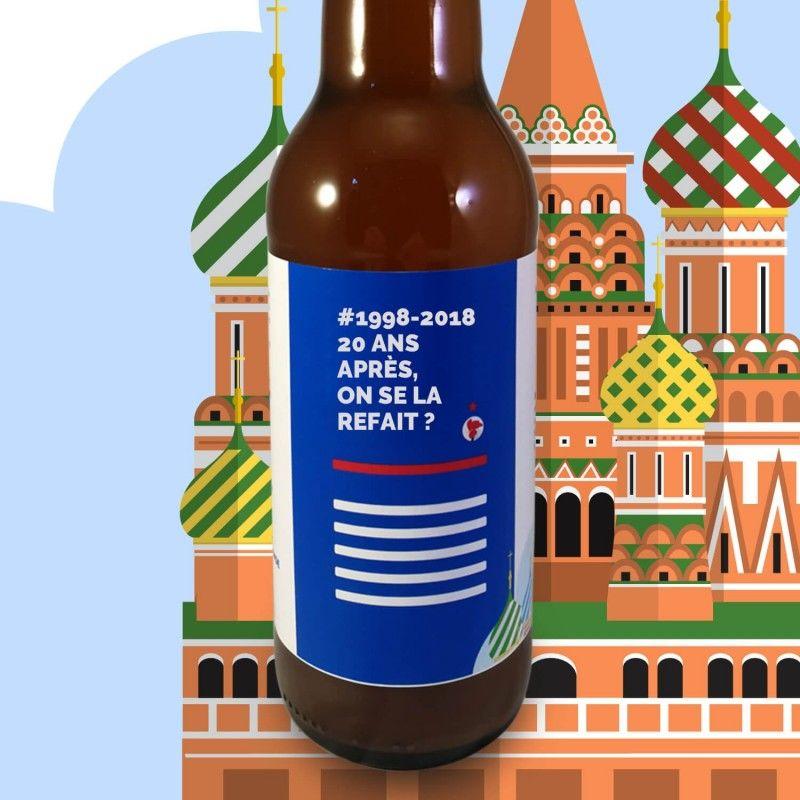 Les Yeux dans la Mousse des Bleus box de bières artisanales avec citation football spéciale Coupe du Monde