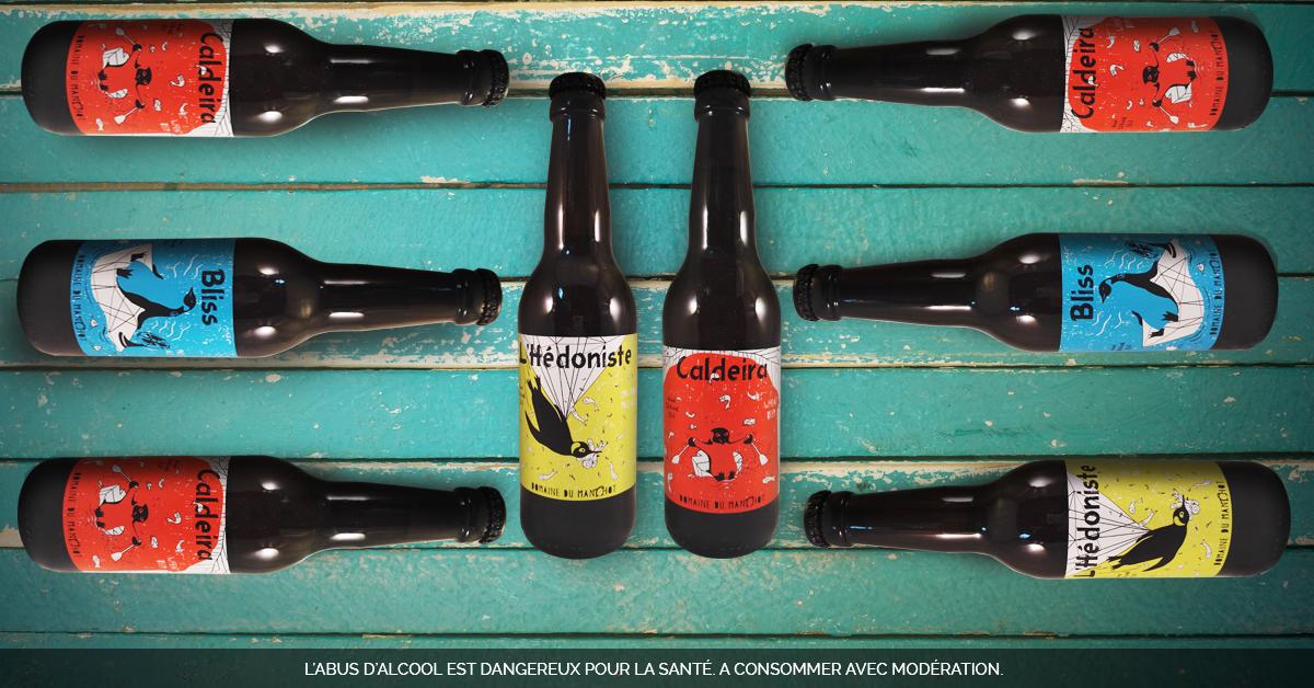Caleira, Bliss et l'Hédoniste, les 3 bières du Domaine du Manchot dans le Beaujolais